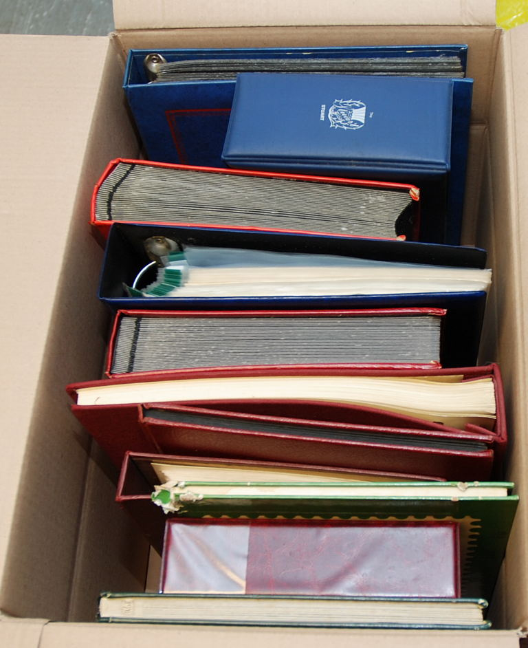 Lot 39 - LARGE BOX OF ALL WORLD IN ELEVEN ALBUMS, SOME BEING EMPTY, DICKENS THEMATICS, FDC, VATICAN, HONG