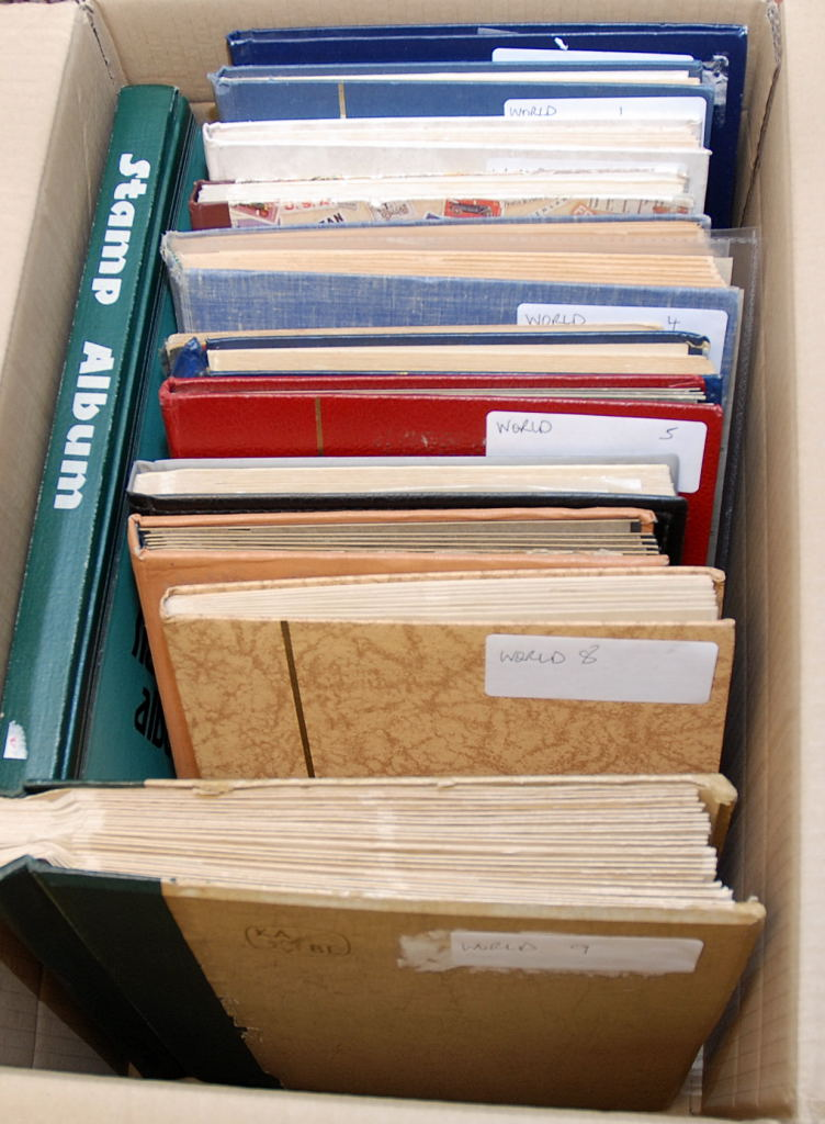 Lot 43 - LARGE BOX WITH FOREIGN IN ELEVEN STOCKBOOKS, WELL ARRANGED A-Z, ALSO TWO STOCKBOOKS GB (1000'S)