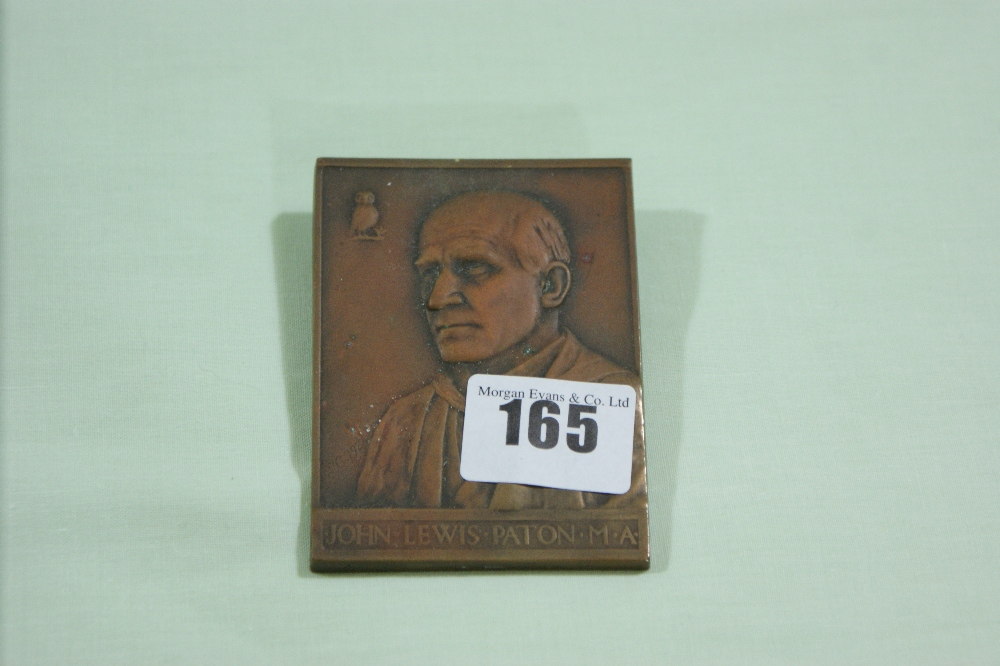 Lot 165 - A Relief Bronze Portrait Plaque Of John Lewis Paton M.A.