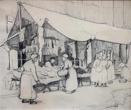 French school circa 1900 women in a breton market pencil drawing signed with initials avb lo