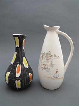 Modernistisk Two KK ceramic (KråkerØy Keramikk) 1950's vases, one black ground BS-11