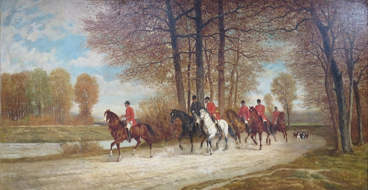 Lot 5097 - AUGUSTE DE MOLINS (French 1827-1890): 'La Chasse'  hunting scene, signed and dated 1867, oil on