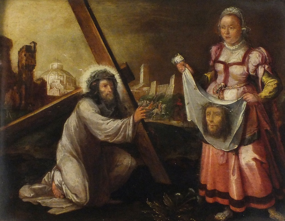 17th/18th C. Oil on oak panel The Veil of Veronica (Sudarium) - Christ carrying the cross with
