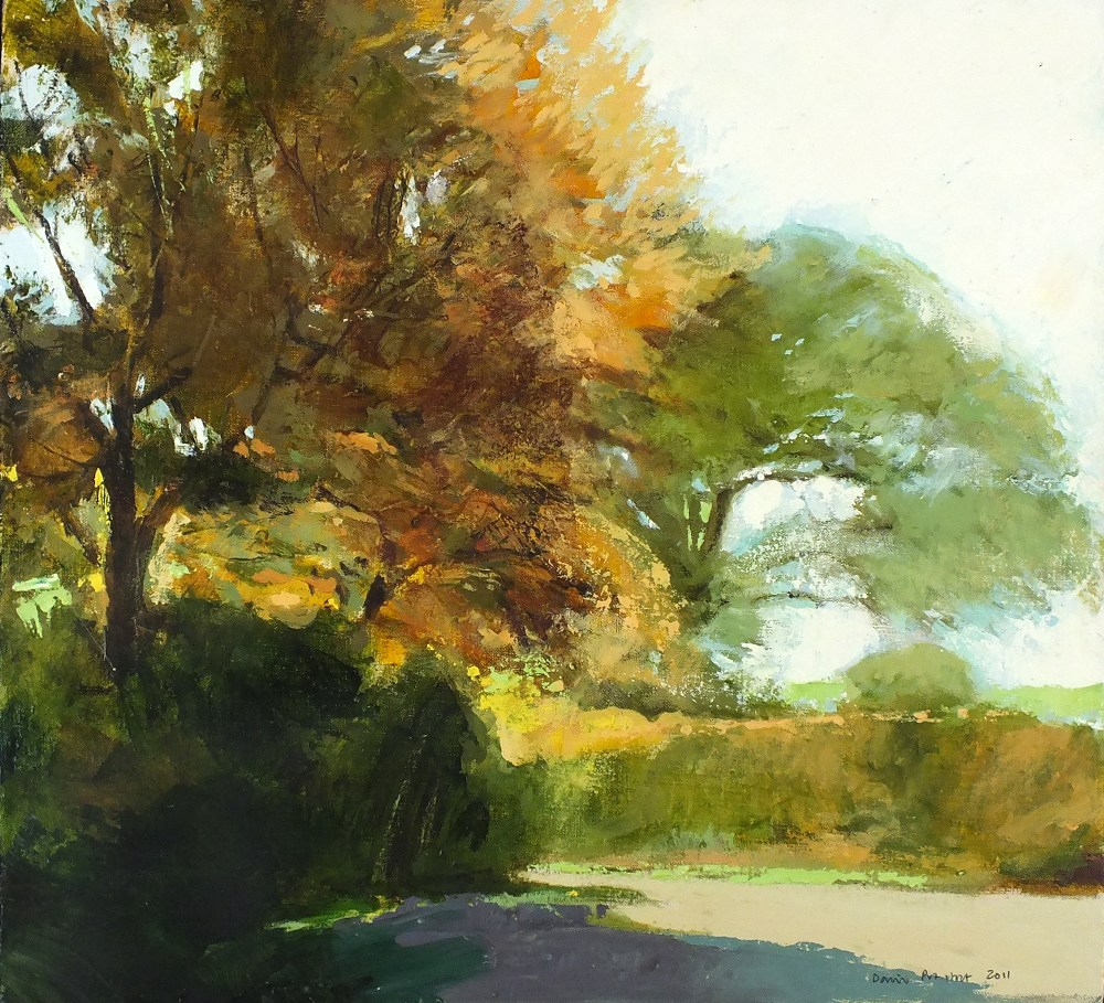 Lot 52 - * David PRENTICE (1936-2014) Oil on canvas 'Autumn Lane' Inscribed & signed to verso Signed and