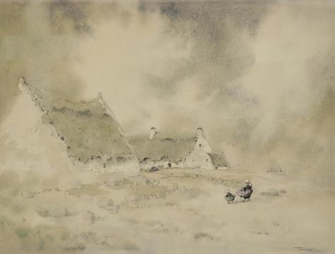 Aquarelle Bretagne ernest pierre guÉrin (1887-1952) brume en bretagne dessin à l