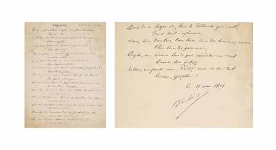 Paul Verlaine Aspiration Poème Autographe Signé En 70