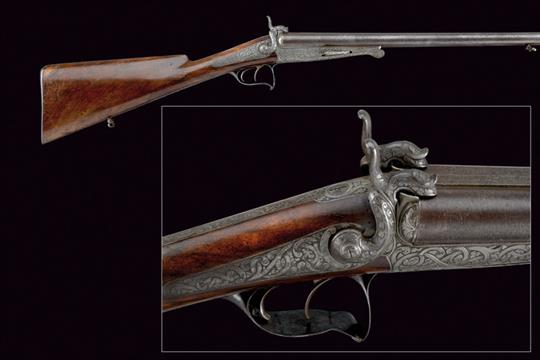 A fine double-barreled pin-fire shotgun by LePage dating