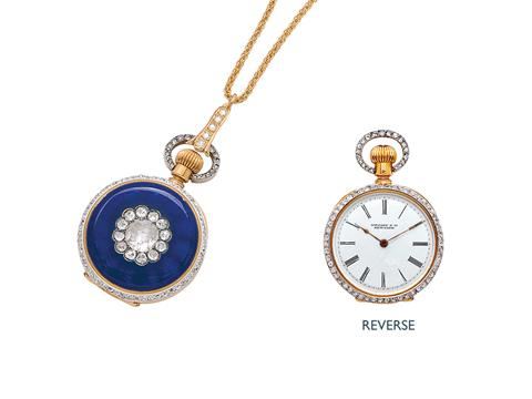 948479a3dc114 An Antique Diamond and Enamel Pendant Watch, Tiffany & Co., circa ...