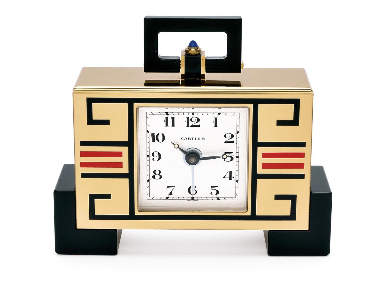 Lot 204 - A Table Alarm Clock, Cartier, circa 1992 The `must de Cartier` with rectangular gold plated case
