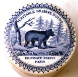 BEARS GREASE POT LID & BASE. 2.75ins diam, blue & white pot lid & base, bear pictured in forest