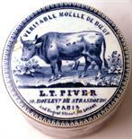 VERITABLE MOELLE DE BOEUF POT LID & BASE. 2.75ins diam, blue & white pictorial pot lid & base, cow