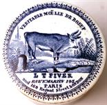 VERITABLE MOELLE DE BOEUF POT LID & BASE. 2.75ins diam, blue & white pictorial pot lid & base,