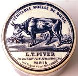 VERITABLE MOELLE DE BOEUF POT LID & BASE. 2.75ins diam, blue & white pictorial lid & base. Cow
