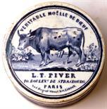 VERITABLE MOELLE DE BOEUF POT LID & BASE. 2.75ins diam, blue & white, cow pictured to lid 'VERITABLE