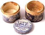 VERITABLE MOELLE DE BOEUF POT LID & 2 BASES. 2.75ins diam, all blue & white, lid with cow pictured &