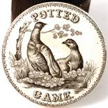 POTTED GAME POT LID & BASE. 3.5ins diam, black & white pictorial pot lid 'POTTED GAME' 2 birds