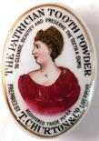THE PATRICIAN TOOTH POWDER OVAL POT LID & BASE. 3.5ins long, coloured transfer of a lady wearing red