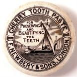 CHERRY TOOTHPASTE POT LID. 3ins diam, 'CHERRY TOOTHPASTE/ F. NEWBERY & SONS LONDON'. Sailing boat