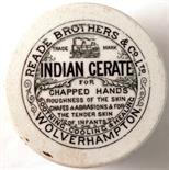 WOLVERHAMPTON POT LID & BASE. 2.75ins diam, 'READE BROTHERS & CO LTD/ INDIAN CERATE/ FOR CHAPPED