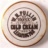 LEAMINGTON COLD CREAM POT LID. 3ins diam, 'W.H. PULLIN/ ROSE/ COLD CREAM LEAMINGTON' with gold
