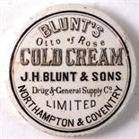 NORTHAMPTON & COVENTRY COLD CREAM POT LID. 3ins diam, 'BLUNT'S/ OTTO OF ROSE/ COLD CREAM/ J.H. BLUNT