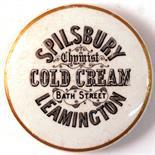 LEAMINGTON COLD CREAM POT LID. 3ins diam, 'SPILSBURY/ CHEMIST/ COLD CREAM/ BATH STREET/
