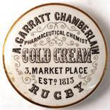 RUGBY COLD CREAM POT LID. 3is diam, 'A. GARRATT CHAMBERLAIN/ PHARMACEUTICAL CHEMIST/ COLD CREAM/ 3