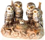 OWLS INKSTAND. 4.25ins tall, 5.5ins long at base. Ceramic inkstand/ inkwell 4 owls with baby owl