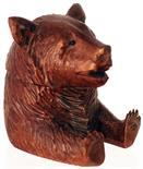 BEAR INKWELL. 3ins tall, wooden inkwell formed as a bears head & shoulders head lifts to reveal a