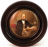 THE LATE PRINCE CONSORT (KM 168). 4ins diam, wooden framed multicoloured pot lid. Produced by the