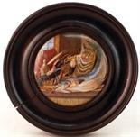 LOBSTER SAUCE (KM 57). 4ins diam, wooden framed multicoloured pot lid produced by the Pratt factory.
