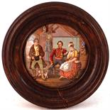 THE RIVALS (KM 124). 4ins diam, wooden framed multicoloured pot lid produced by he Pratt factory.