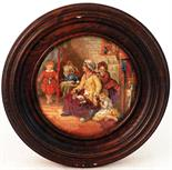 HIDE AND SEEK (KM 301). 4ins diam, wooden framed multicoloured pot lid, produced by the Pratt