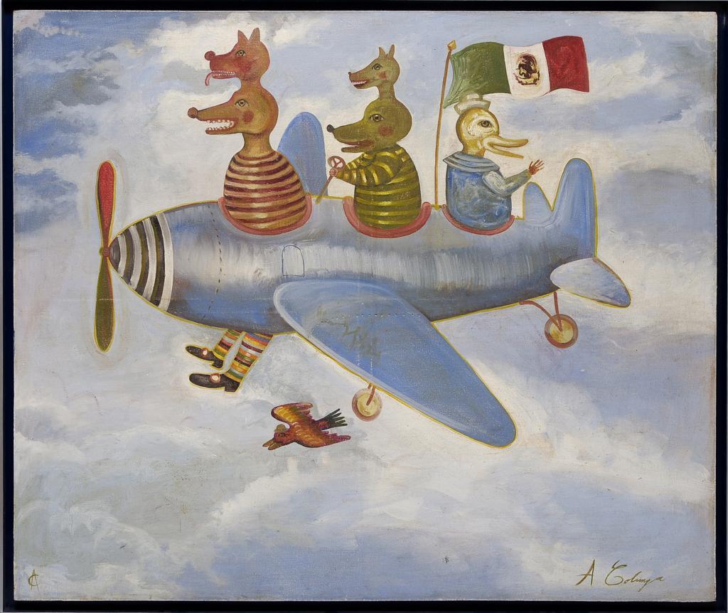 Lot 124 - ALEJANDRO COLUNGA Avión Firmado y con monograma. Óleo sobre tela. (N. Guadalajara, Jalisco, 1948 - )