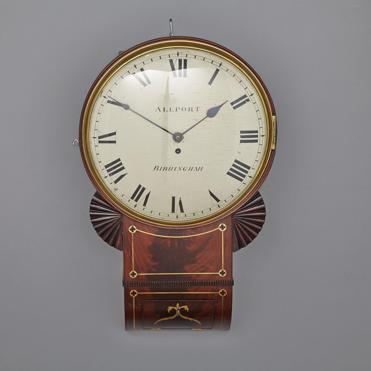 Lot 294 - ENGLISH FLAME MAHOGANY DROP DIAL CLOCK, C.1850 the 14 inch painted white Roman dial fronting a time