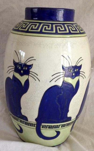Lot 302 - A Longwy style cat vase