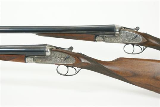 Pair of Gorosabel Silver Deluxe 12 bore side by side shotguns, No 1