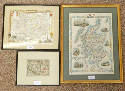 FRAMED MAP OF SCOTLAND BY J & F TALLIS, LONDON, FARMED MAP OF THE ...