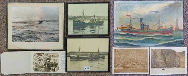 Primitive oil painting of steam trawler photograph of for Oil paintings for sale amazon