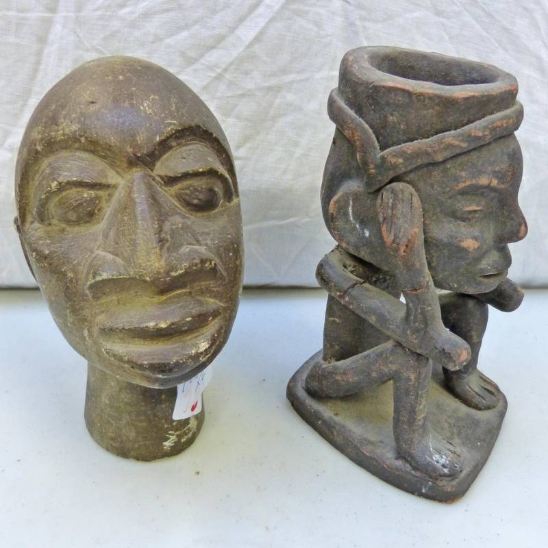 African clay incense bowl shaped as a seated figure cm