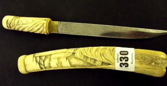 Geisha Knife Carved Bone Handled Knife Decorated Fighting Samurai 10 5 Long