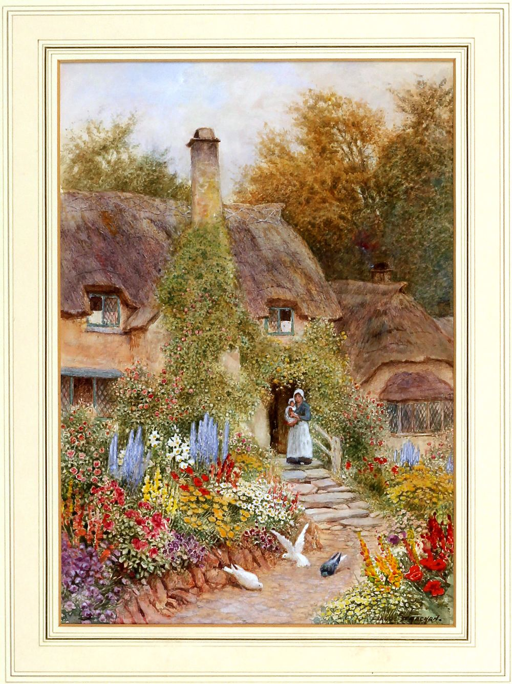 English country garden paintings - Lot 263 Arthur Claude Strachan 1865 1932 Watercolour Thatched Cottage And English Country Garden