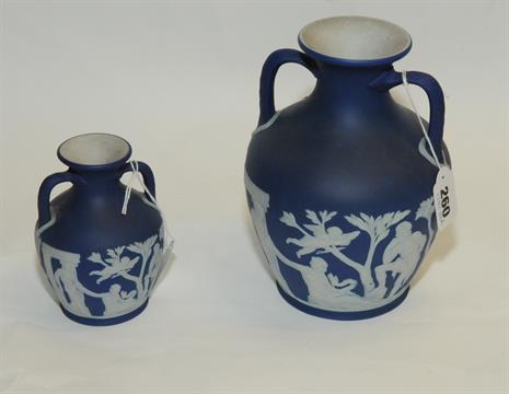 Wedgwood Dark Blue Jasper Ware Model Of The Portland Vase Impressed