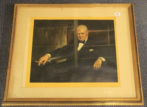 Lot 367 - A large framed print of Sir Winston Churchill, 85cm x 71cm