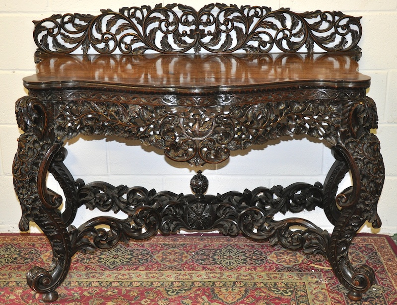A 19th century chinese carved hardwood console table with for 4ft sofa table
