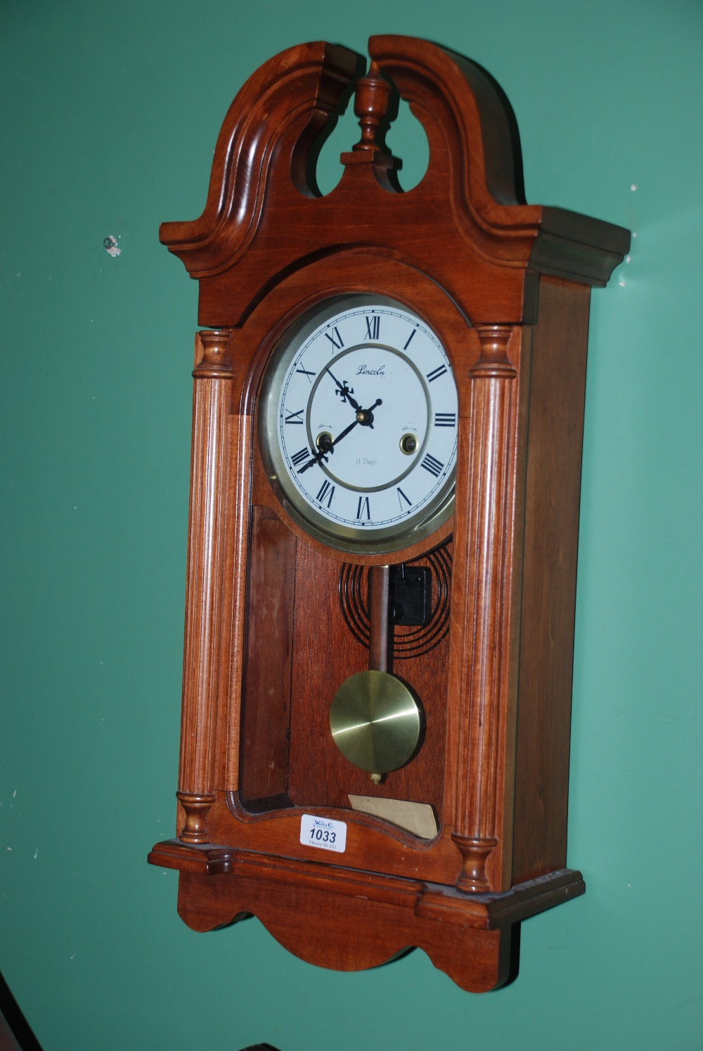 A lincoln 31 day cased wall clock lot 1033 a lincoln 31 day cased wall clock amipublicfo Image collections