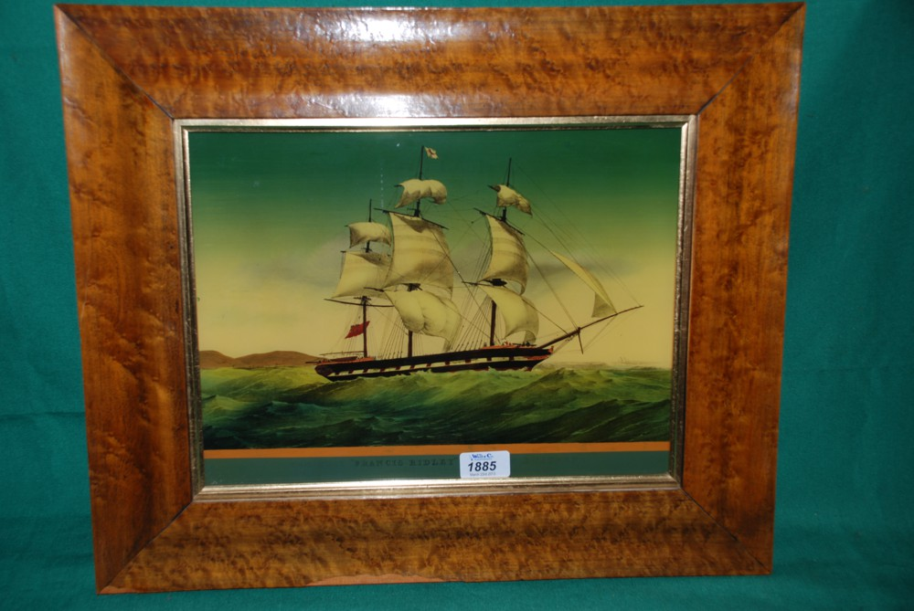 A glass painting by W. Werrall of a ship \'Francis Ridley, in a maple ...