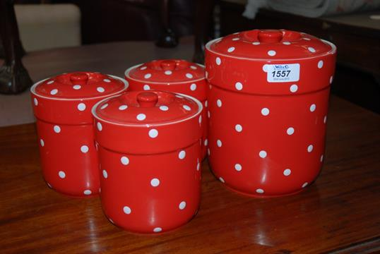 Four Spode \'\'Baking Days\'\' Red Polka Dot Storage Jars.