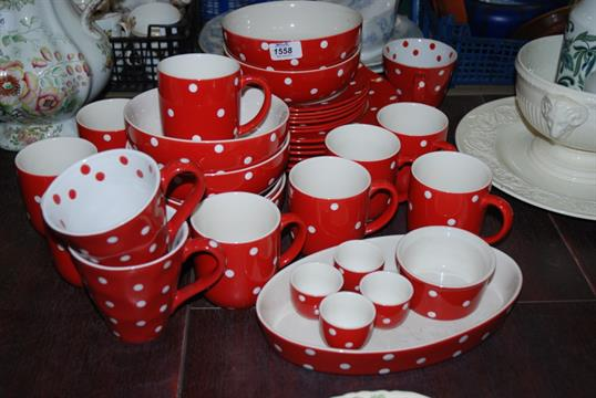 A large quantity of Spode \'\'Baking Days\'\' Polka Dot tableware incl ...