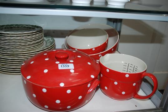 A quantity of Spode cookware \'\'Baking Days\'\' red Polka Dot Bowls ...